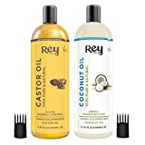 Rey Naturals® Cold-Pressed, 100% Pure Castor Oil & Coconut Oil - Moisturizing & Healing, For Skin, Hair Care, Eyelashes (200 ml + 200 ml) super saver combo
