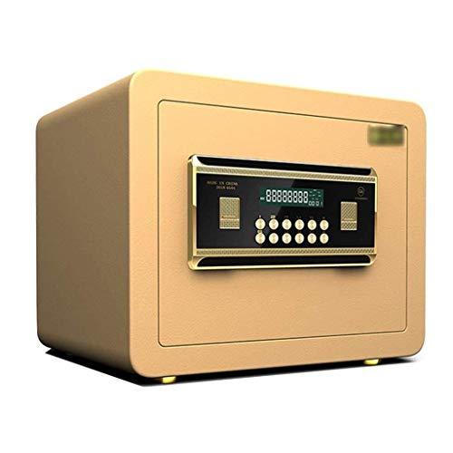 ZBM - ZBM kleine waarde veilig, digitaal toetsenbord, LED-indicatoren, 35 mm stalen vergrendelbouten, noodsturing sleutel, zwart oppervlak 25 cm kluis voor thuis - brandbeveiliging, kantoor veilig documententas Tyrant goud.