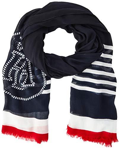 Tommy Hilfiger Damen Poppy Breton Stripes Scarf Schal, Blau (Blue Ink C7H), One Size (Herstellergröße: OS)