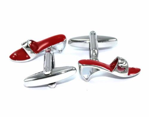 Gemelolandia | - Gemelos zuecos, color rojo y plata Gemelos Originales Para Camisas | Para Hombres y Niños | Regalos Para Bodas, Comuniones, Bautizos y Otros Eventos