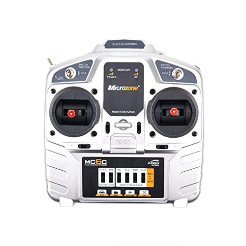 MicroZone 2.4G 6CH MC6C Mando a distancia Transmisor Receptor Sistema de Radio para Avión RC para Drone MultiRotor Helicóptero Coche Barco Reemplazar Dañado (Color: Mano Derecha)