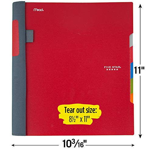 "Five Star Advance Spiral Notebook, 5 Subject, College Ruled Paper, 200 Sheets, 11"" x 8-1/2, Color Selected For You (06326) Photo #5"