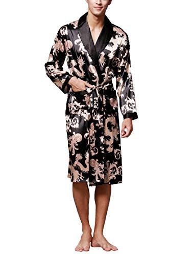 Westkun Vestaglia da Notte Uomo in Raso Accappatoio Lungo Kimono Elegante Manica Lunga Camicia Biancheria da Notte con Cintura e Tasche per Spa Casa Hotel(Nero,XL)