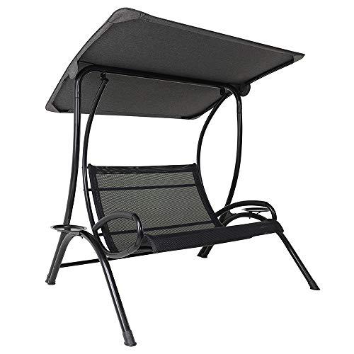 Qbo Hollywoodschaukel 2-Sitzer Schwarz modernes Design Garten Siro