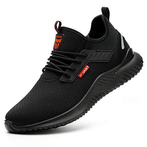 Ayqyc Sicherheitsschuhe Herren S3 Arbeitsschuhe Damen Leicht Atmungsaktiv Schutzschuhe Stahlkappe Sneakers, Schwarz-c, 43 EU