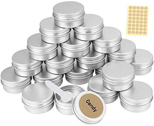 20 Stück Aluminium Leer Döschen Rund Reise Cremedose Tiegel für Creme Lotion Masken Kosmetik Nagelkunst(20ml)