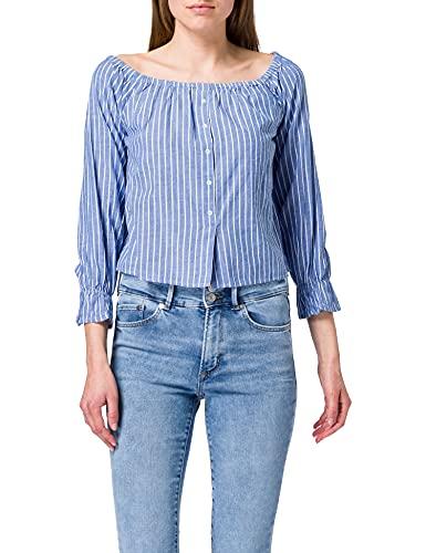 ONLY Damen ONLMARTHA Offshoulder TOP WVN Bluse, Cashmere Blue/Stripes:Cloud Dancer Stripes, M