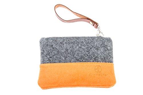 Stil-Macher Taschenorganizer aus Filz – Schminktasche – Makeup Tasche - Handtaschen-Organizer – Geldbörse - Portemonnaie - Geldbeutel - Kulturtasche - Geldbeutel … (anthrazit-orange)