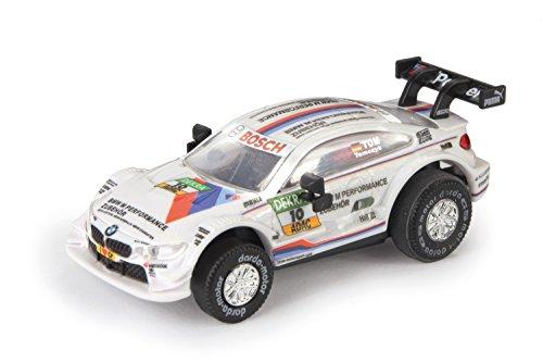Darda 50386 Auto BMW M4 DTM Tomczyk Rennauto mit auswechselbaren Rückzugsmotor, Fahrzeug mit Aufziehmotor, Rückziehauto für Rennbahnen, Rennwagen für Kinder ab 5 Jahre, ca. 8 cm, weiß