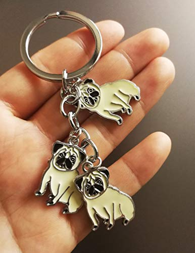 BBEART Dog Keychain, Pet Pendant Key-Ring, Cute Puppy ID Tags Metal Key Ring for Dog Lover (Pug)