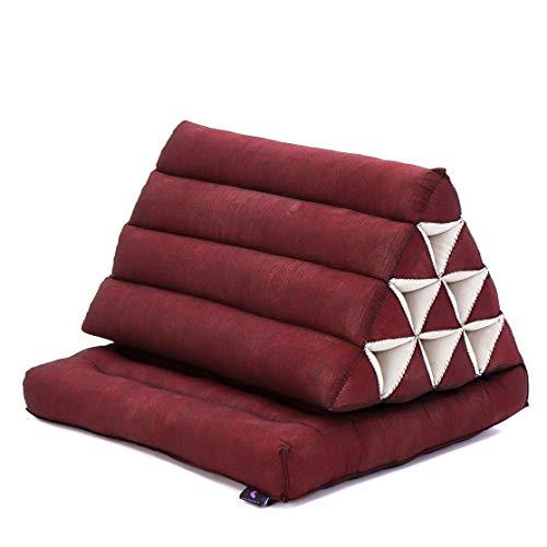 Leewadee Materasso Pieghevole con Schienale Triangolare: Comodo Tappetino con Cuscino Triangolare in Eco-kapok Fatto a Mano, Materasso thailandese, 75 x 50 cm, Rosso