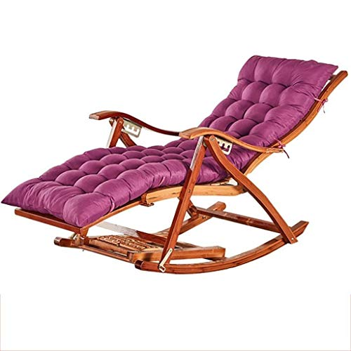 FTFTO Office Life Zero Gravity Chair Rocking Chair with Cushion Armchair, Foldable Comfortable Curved Backrest Lounge Chair for Garden Patio Reclining Chairs Sun Lounger (Color : Brown)