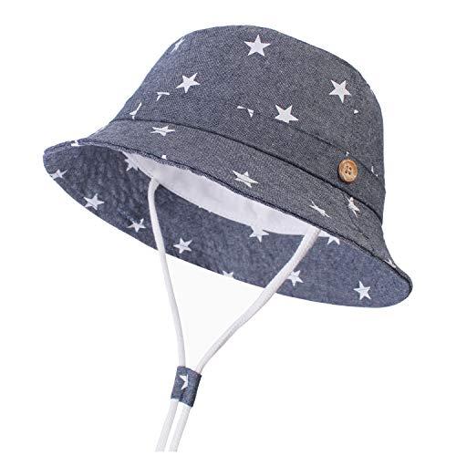 DRESHOW Unisex Baby Kleinkinder Sonnenhut Kappe Mütze Fischerhut Strandhut Kinder Baby Stern Sommerhut UV Schutz,Star Denim,2 - 4 T