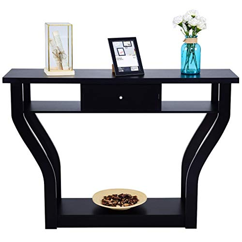 WaterJoy 47' Modern Entryway Wooden Accent Table with Drawer, Bottom Shelf, Mufti-Functional Home Furniture for Hallway, Living Room, Bedroom,Office Accent Hall Table