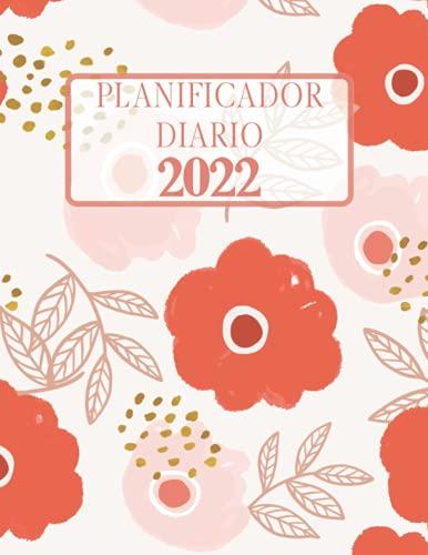 Planificador diaro 2022: Patrón de flor roja y blanca. Agenda de un año. Formato largo. Una página por día, horarios de 6 am / 11 pm, lista de tareas pendientes, notas. Calendario.