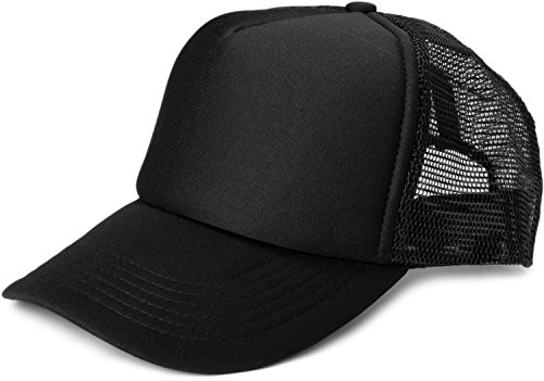 styleBREAKER 5 Panel Mesh Cap, Trucker Baseball Cap, Basecap, verstellbar, Unisex 04023007, Farbe:Schwarz