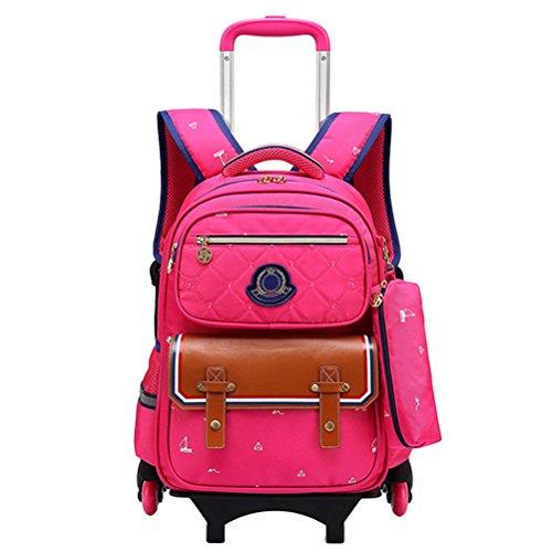 Zhhlinyuan Étudiants Primaires Portable École Sacs de Livre Enfants Daypack Roulant Sac à Dos avec Roues Students School Bag