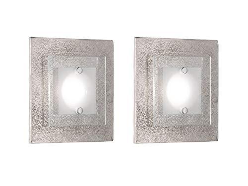Exclusieve LED-wandlampen met karakteristieke decoratie in nikkel antiek - gecombineerd met gedeeltelijk gesatineerde glazen kap