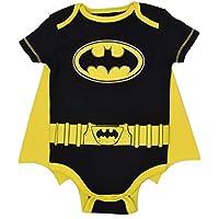DC Comics Body de Manga Corta de Batman con Capa - Disfraz Friki Divertido para Bebé-Niños, Negro 6-9 Meses