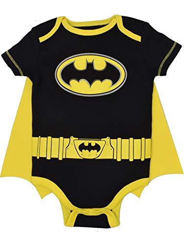 DC Comics Body de Manga Corta de Batman con Capa - Disfraz Friki Divertido para Bebé-Niños, Negro 24 Meses
