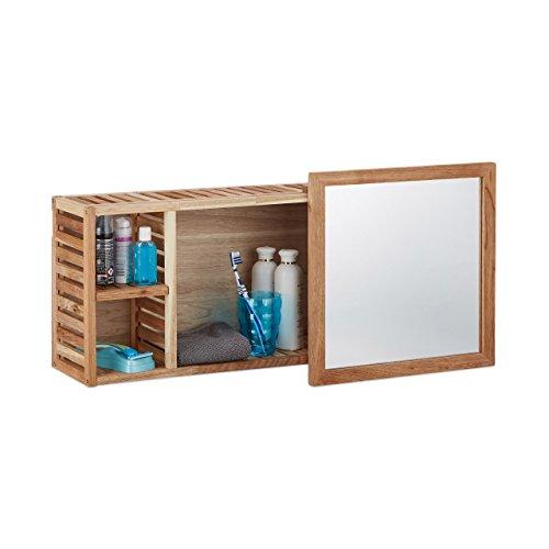 Relaxdays 10020642 Mensola per Bagno con Specchio, Noce, Marrone, 17x80x30 cm
