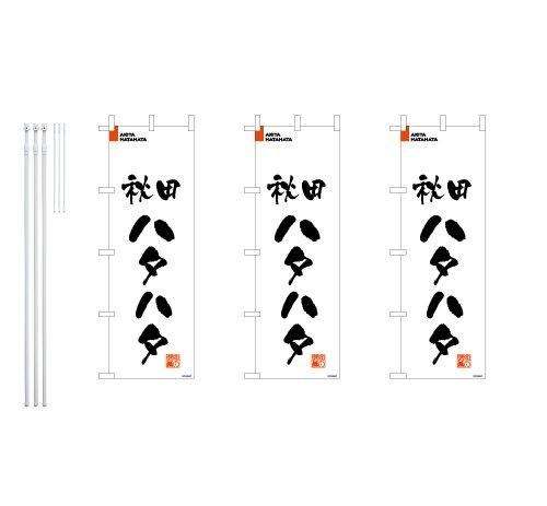 デザインのぼりショップ のぼり旗 3本セット 秋田ハタハタ 専用ポール付 スリムショートサイズ(480×1440) 標準左チチテープ BAK213SS