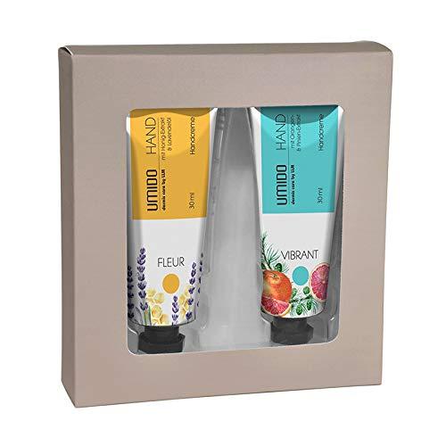 UMIDO Beautyset | 1x Handcreme 30 ml Honig-Extrakt & Lavendelöl | 1x Handcreme 30 ml Orangen-Extrakt & Pinien-Extrakt | 1x Geschenk-Box (6-BYS)