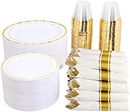 "350 Pieces Gold Plastic Plates with Disposable Silverware and Cups, Include: 50 Dinner Plates 10.25"", 50 Dessert Plates 7.5"", 50 Gold Rim Cups 9 OZ, 50 Per Rolled Napkins with Gold Cutlery"