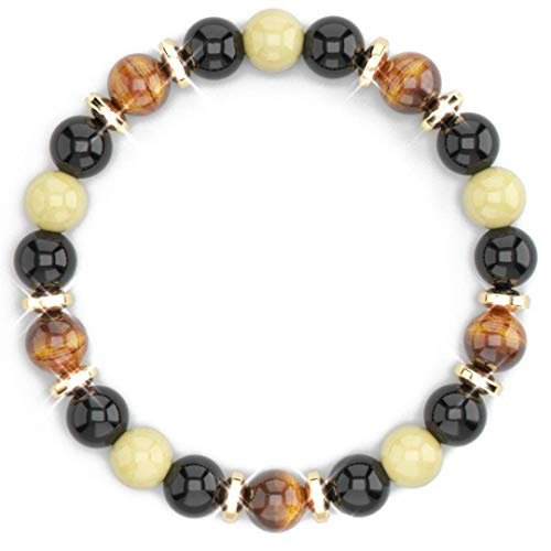 Citrine Crystal Bracelet, Tiger Eye, Feng Shui Black Obsidian Wealth Bracelet for Women and Men, Hematite Spacers, Prosperity Money Luck Bracelet, Business Entrepreneur Goals