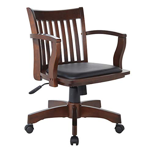 Office Star Deluxe Wood Bankers Desk Chair with Black Vinyl...