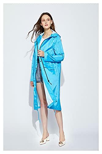 AdorabFruit Chubasquero largo para mujer, hombre, impermeable, resistente al viento, con capucha, ligera, para senderismo, lluvia, ponchos chaqueta, capa Raingear (color: azul cielo, tamaño: XL.)