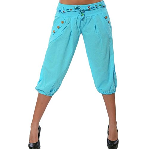 Pantalone Capri Donna Tempo Libero Capri Cropped Harem Baggy Pantaloncini Pantaloni da Yoga Blu 2 3XL