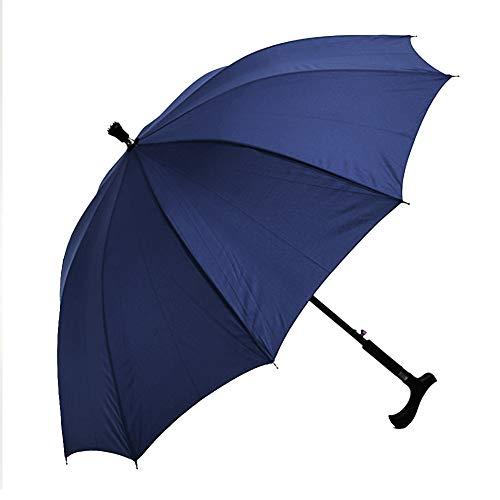 shoppingba Paraguas de Lluvia y Sol, Resistente al Viento, protección UV, Ligero, portátil, 2 en 1, para Escalada, Senderismo, bastón, muleta, Resistente al Viento, antiUV, Lluvia y Sol, Azul