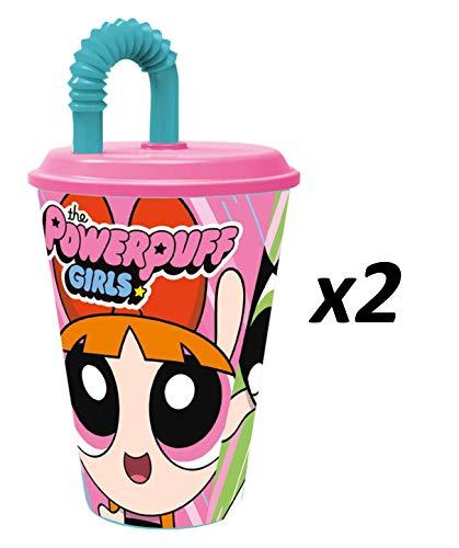 The Powerpuff Girls – 2 bekers met rietje van kunststof, 430 ml