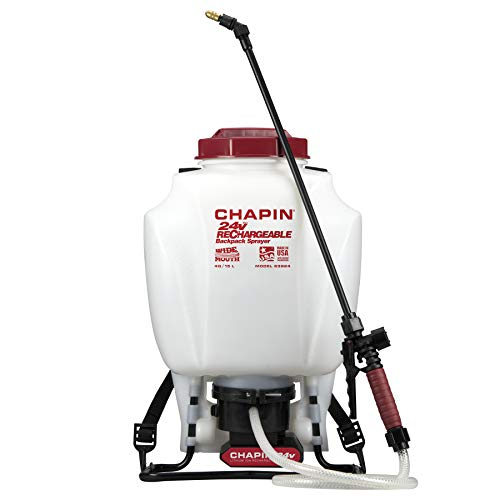backpack weed sprayers Chapin 63924 4-Gallon 24-volt Extended Spray Time Battery Backpack Sprayer For Fertilizer, Herbicides and Pesticides, 4-Gallon (1 Sprayer/Package)