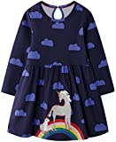 VASCHY Little Girls Dresses, Unicorn Rainbow Dress Size 4-6T Girls Cute Pattern Cotton Long Sleeve Autumn Basic Clothes for Toddlers