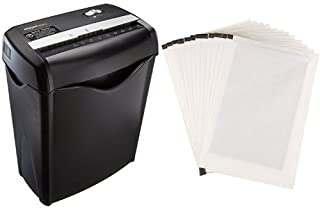 AmazonBasics 6-Sheet Cross-Cut Paper Shredder and Shredder Sharpening & Lubricant Sheets (Pack of 12) Bundle