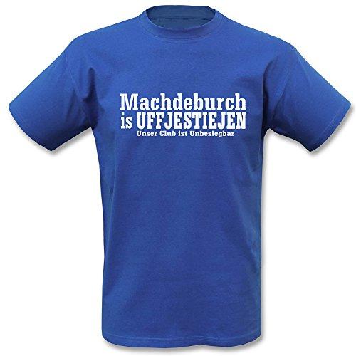 Machdeburch is Uffjestiejen T-Shirt Magdeburg Blau Weiss (Blau, S)