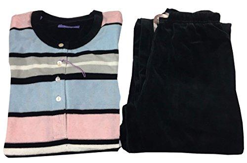 GUASCH Pijama para mujer de chenilla negro/rosa/celeste, de algodón, mod. KE242 D.26 (S - IT 42/44 - UK 10/12)