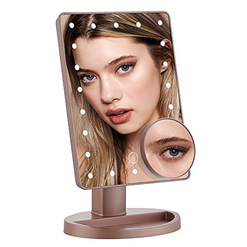 DUFU Espejo de Maquillaje con 22 Luz LED, Aumento Removible 10X Espejo de Maquillaje Fuente de Alimentación Doble Espejo Cosmético Pantalla Táctil de Mesa, Rotación de 180° Brillo Ajustable, Oro Rosa