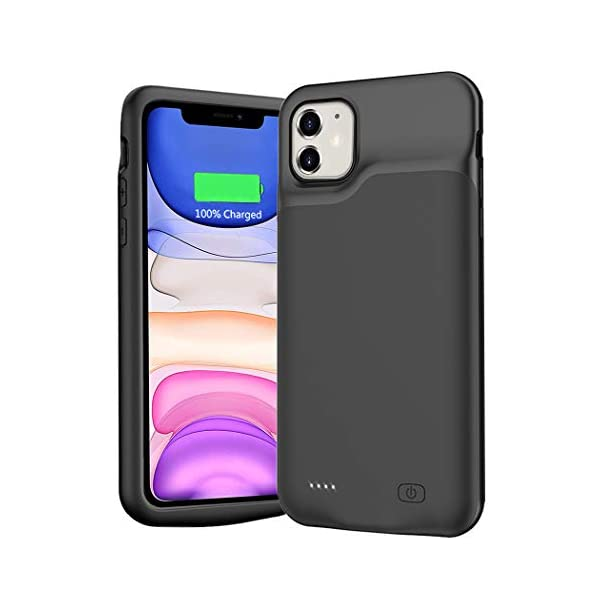 Battery Case For Iphone 11 6000mah Extended Portable Battery Pack Rechargeable Smart Charger Case Compatible With Iphone 11 61 Inch External Battery Cover Charging Case Black