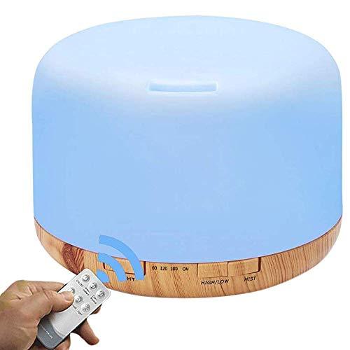 Aromatherapie ätherisches Öl Diffuser Luftbefeuchter, 500ML Ultraschall-kühler Luft-Nebel-Befeuchter mit Fernbedienung, Auto-Shut-Off, Timer Einstellung for Baby-Schlafzimmer Home Office Large Zimmer