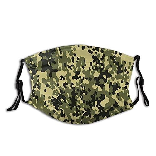 Mascarilla facial con filtro de bolsillo texturizado camuflaje lavable reutilizable cara bandanas paño pasamontañas con 2 filtros negro