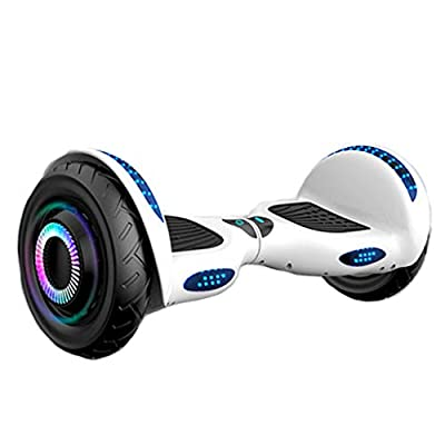 """XTSP Hoverboard 10"""" Off Road All Terrain Hoverboard with Bluetooth Speaker and LED Lights Two-Wheel Self Balancing Hoverboard (White)"""
