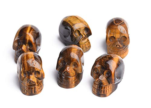 AMOYSTONE 6pcs Tiger Eye Stones Skull Statue Healing Crystal Stone Human Reiki Skull Figurine Sculptures 1.5'