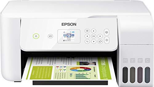 Epson EcoTank ET-2726 - Impresora de inyección de tinta 3 en 1 (Impresora, escáner, fotocopiadora), DIN A4, WiFi, USB 2.0 ) pantalla LCD de 3,7 cm , Color Blanco