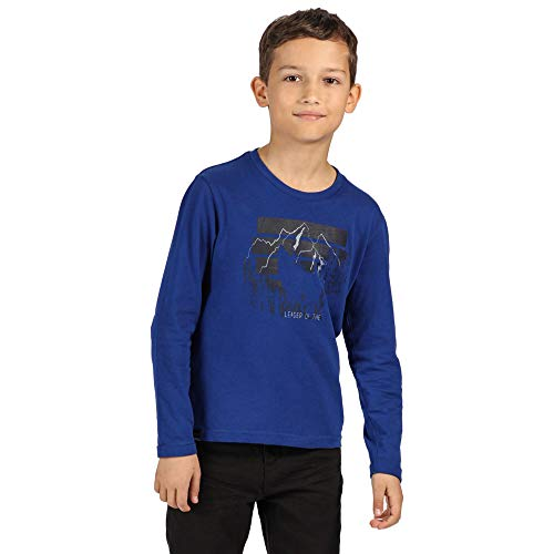 Regatta Kinder Wenbie Coolweave Cotton Long Sleeve T Shirt with Graphic Print Polo-Hemden/Westen, Helles Königsblau, 5-6