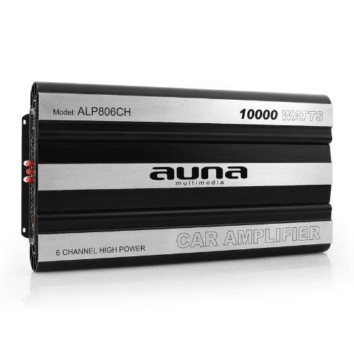 auna AMP806CH - Car HiFi Verstärker, 6-Kanal Auto-Endstufe, Car Amplifier, MOSFET, brückbar, 10000 W Peak-Leistung, Hoch- / Tiefpassfilter, Super Bass, schwarz-Silber