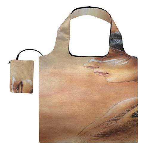 Lebensmittel Einkaufstasche Schöne Airbrush-Malerei Young Native Indian Große Leinwand Tasche Handtasche Schulter Polyester Wiederverwendbare Einkaufstaschen, waschbar, langlebig und leicht