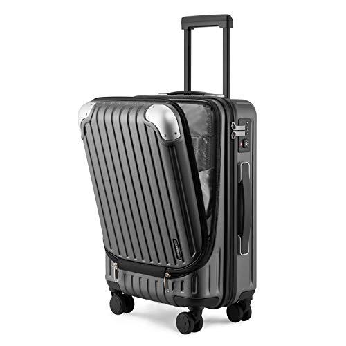 """LEVEL8 Equipaje de Mano 20"""", ABS+PC Expansible Maleta Cabina con Cerradura de Seguridad con Combinación TSA con 8 Ruedas, Maleta para Viajes, Maleta de Cabina 37x55.5x24 cms, 36L, Gris"""